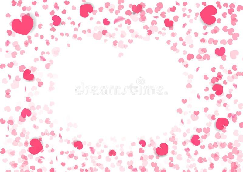 Fondo de día de San Valentín, marco de la forma del corazón, decoración de papel que cae del confeti de papel del arte del ejempl libre illustration