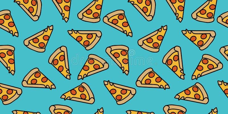 fondo de dibujo del modelo de la pizza Mano inconsútil de Junk Food dibujada para envolver y la impresión de la decoración ilustración del vector