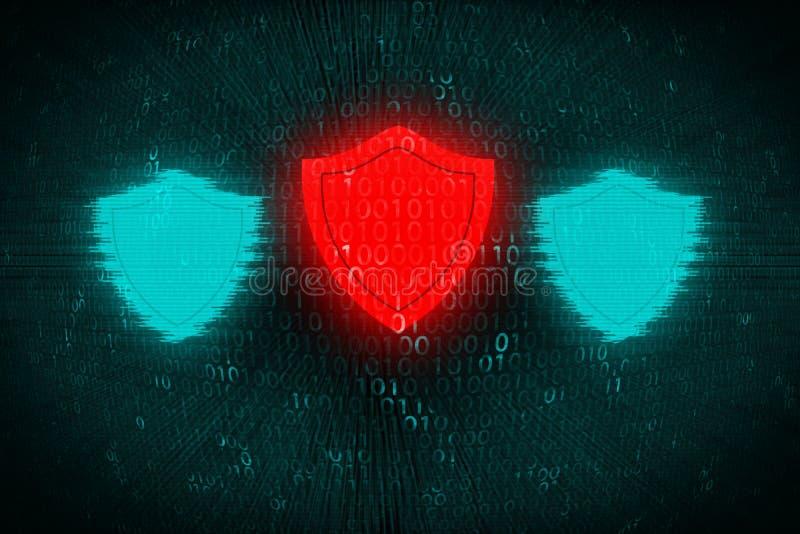 Fondo de Digitaces con el escudo rojo en el centro El concepto de ataque del pirata informático y protege datos personales sobre  imágenes de archivo libres de regalías