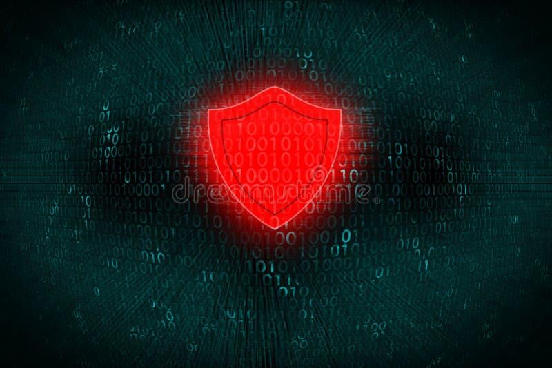 Fondo de Digitaces con el escudo rojo en el centro El concepto de ataque del pirata informático y protege datos personales sobre  fotografía de archivo