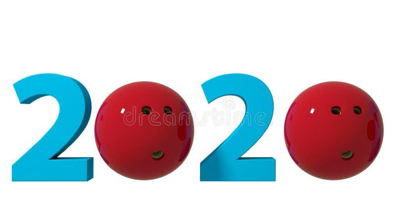 Fondo de 2020 diseños que rueda en un fondo blanco ilustraci?n 3D ilustración del vector