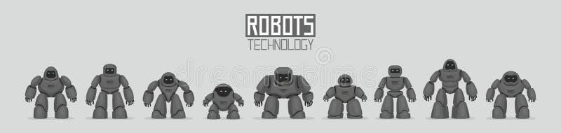 Fondo de diversos robots negros ilustración del vector