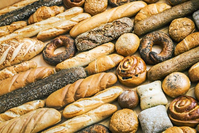 fondo de diversos tipos de pan, de rollos de pan y de productos fotografía de archivo