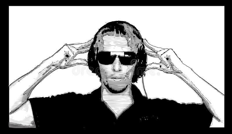 Fondo de DJ stock de ilustración