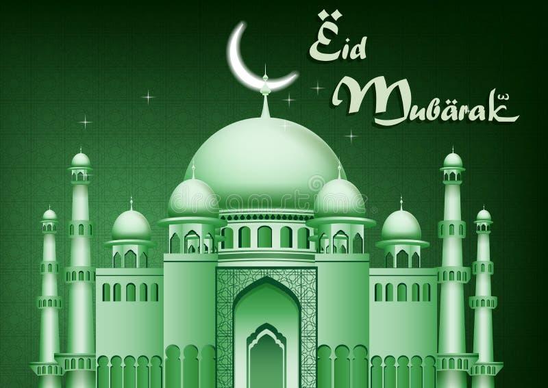 Fondo de Eid Mubarak con la mezquita stock de ilustración