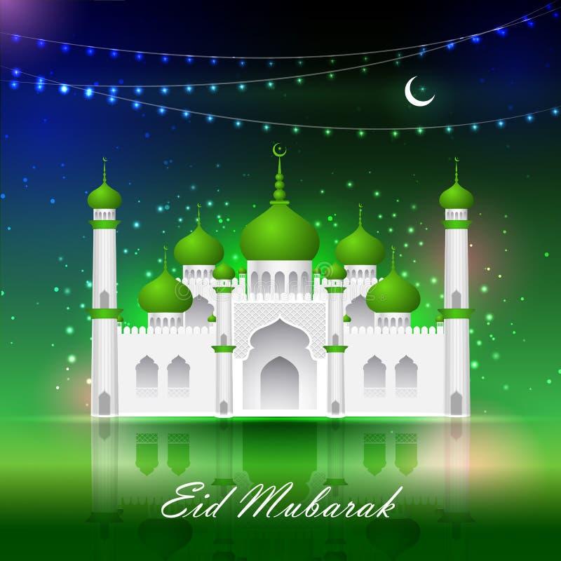 Fondo de Eid Mubarak con la mezquita islámica stock de ilustración