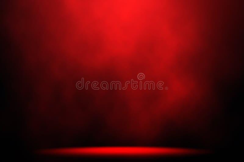 Fondo de etapa rojo del proyector del humo fotografía de archivo libre de regalías