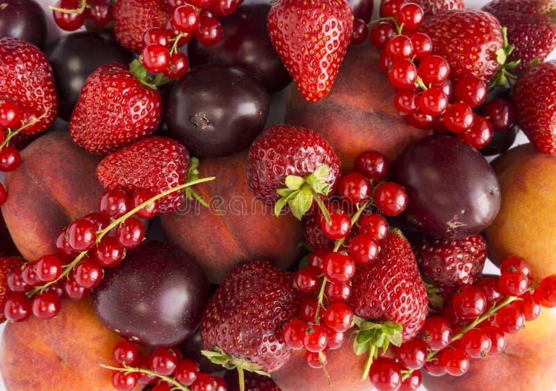 Fondo de fresas, de melocotones, de pasas rojas y de ciruelos Primer fresco de las bayas Visi?n superior Fondo de bayas rojas Div imagenes de archivo