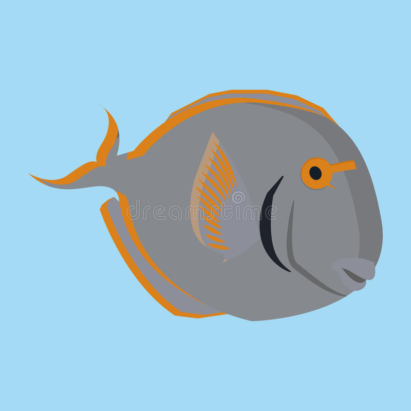 Fondo de Gray Fish Isolated On Blue libre illustration
