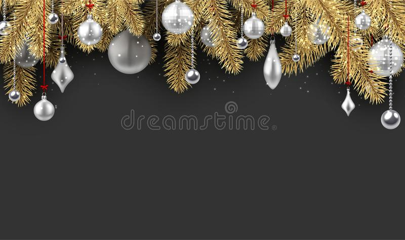 Fondo de Grey Christmas con las ramas spruce libre illustration
