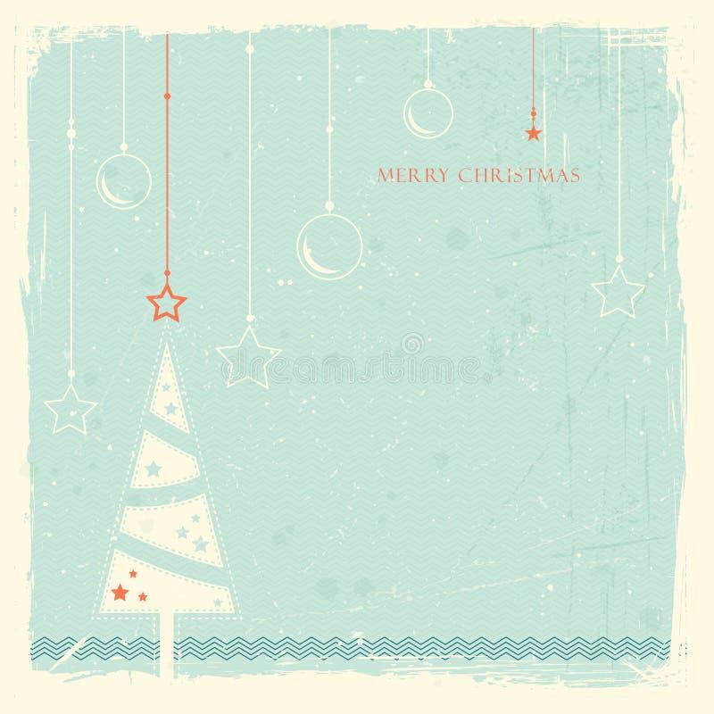 Fondo de Grunge con el árbol de navidad stock de ilustración