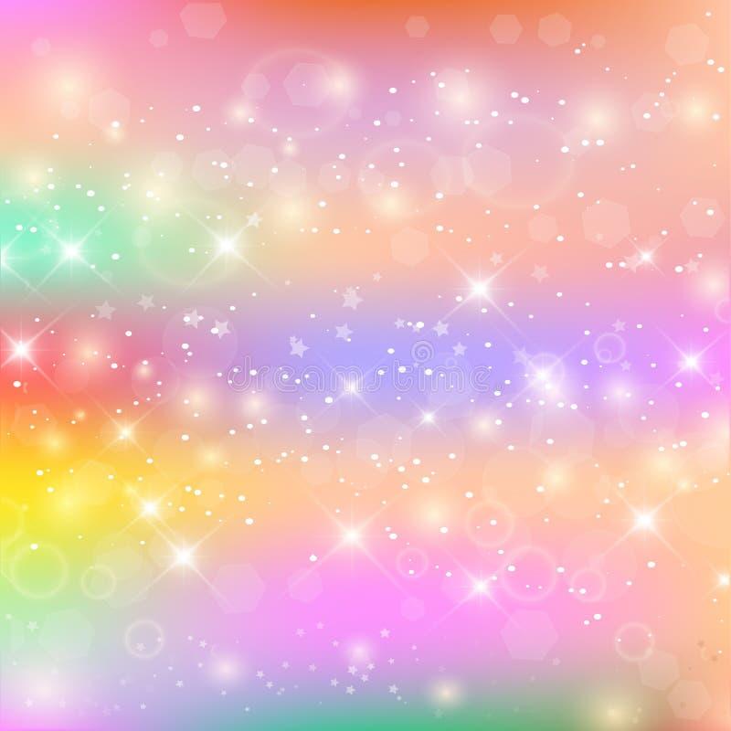 Fondo de hadas del bebé con la malla del arco iris stock de ilustración