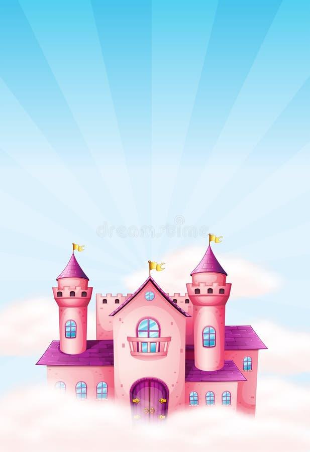 Fondo de hadas rosado del castillo stock de ilustración