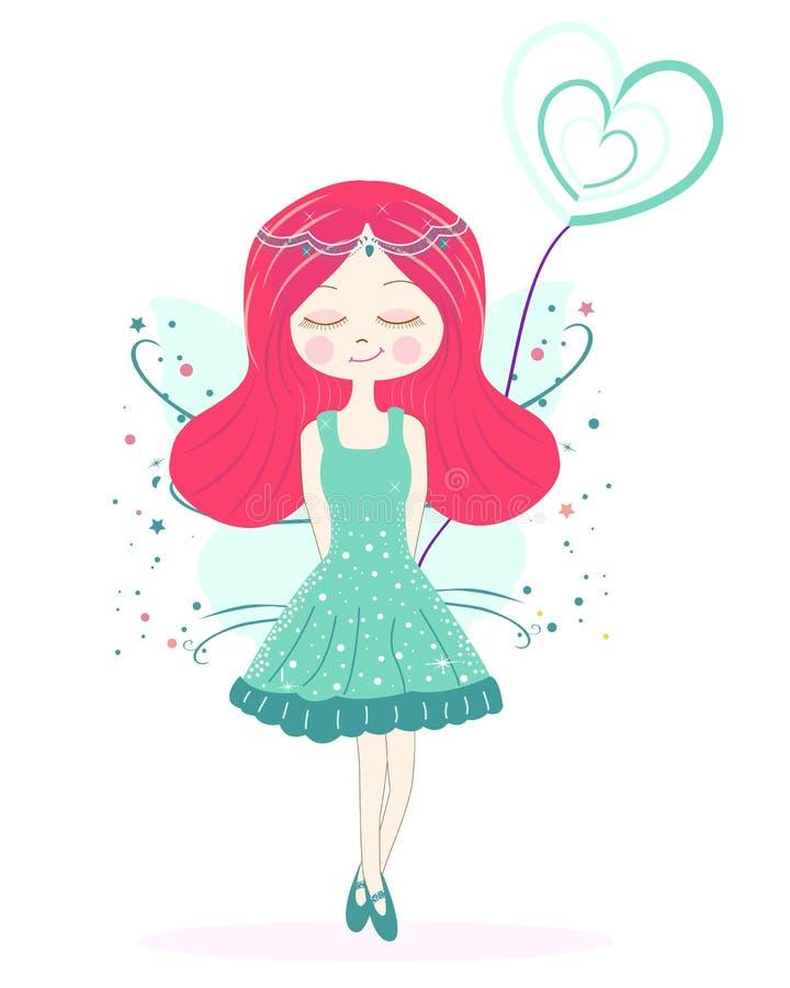 Fondo de hadas verde lindo del vector de la muchacha stock de ilustración