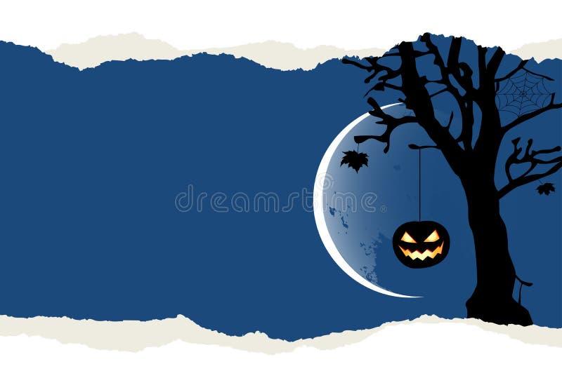 Fondo de Halloween con dos calabazas que cuelgan en el árbol ilustración del vector