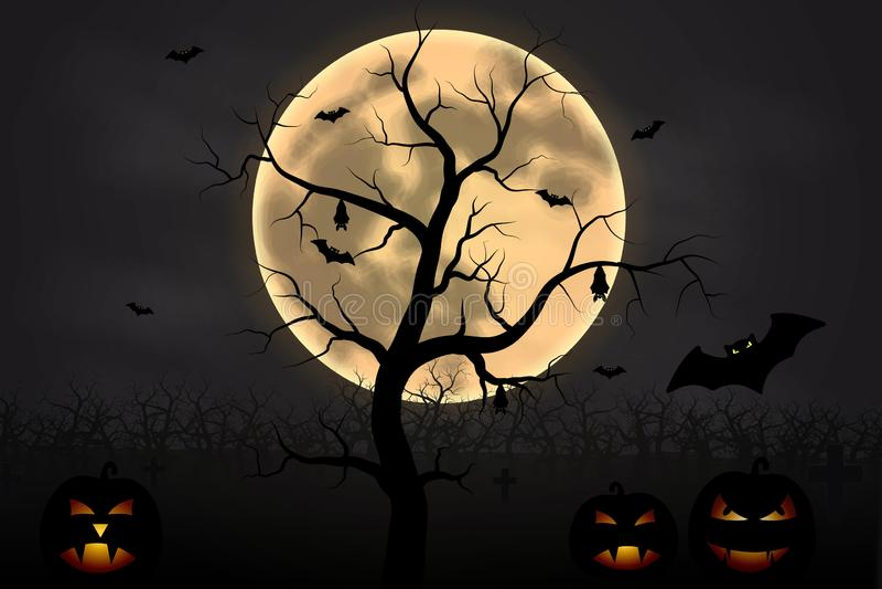 Fondo de Halloween con el árbol, la Luna Llena y las calabazas en noche oscura aislados Luna de Halloween, asustadiza libre illustration