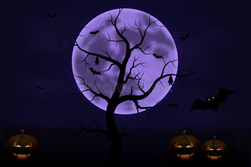 Fondo de Halloween con el árbol, la Luna Llena y las calabazas en noche oscura aislados Luna de Halloween, asustadiza ilustración del vector