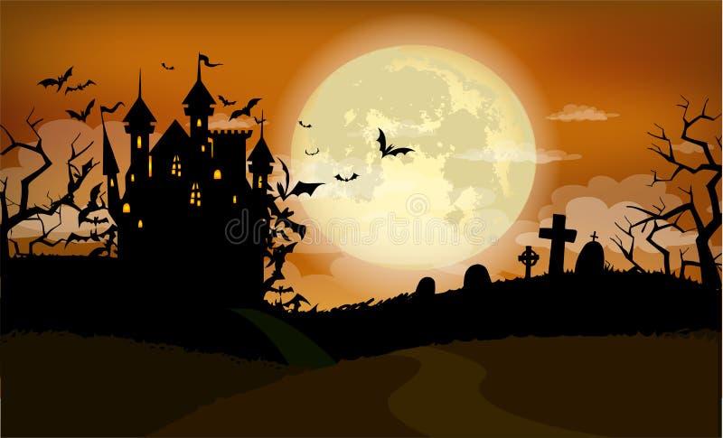 Fondo de Halloween con el castillo de Drácula stock de ilustración