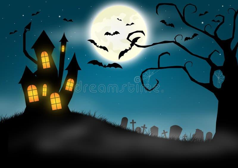 Fondo de Halloween con el castillo y el cementerio frecuentados ilustración del vector