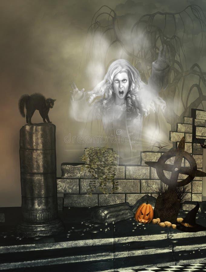 Fondo de Halloween con el fantasma ilustración del vector