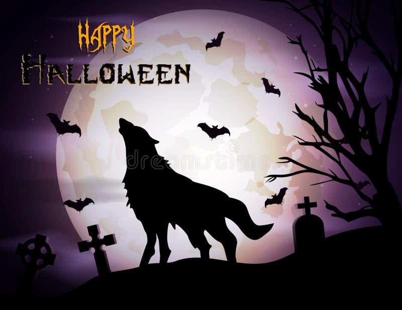 Fondo de Halloween con el lobo del grito en el claro de luna stock de ilustración