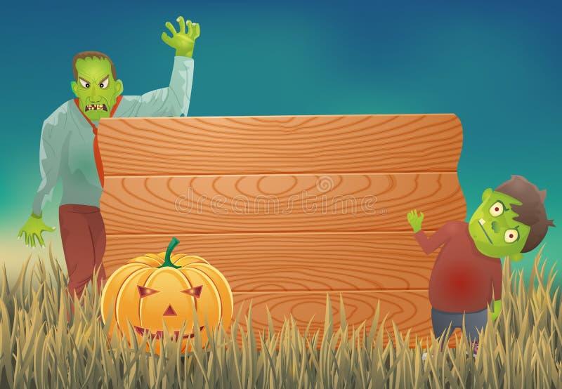 Fondo de Halloween con el zombi y la muestra de madera stock de ilustración