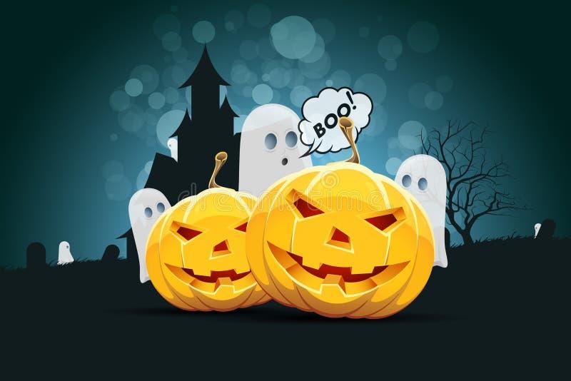 Fondo de Halloween con la calabaza y el fantasma ilustración del vector