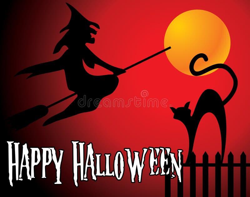 Fondo de Halloween con la luna anaranjada llena, bruja  libre illustration