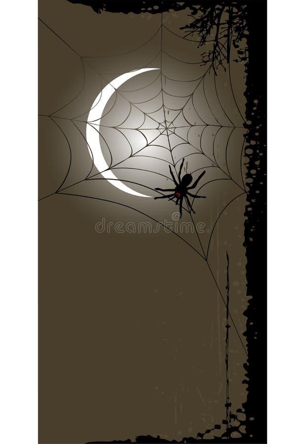 Fondo de Halloween con la Luna Llena y el web de araña ilustración del vector