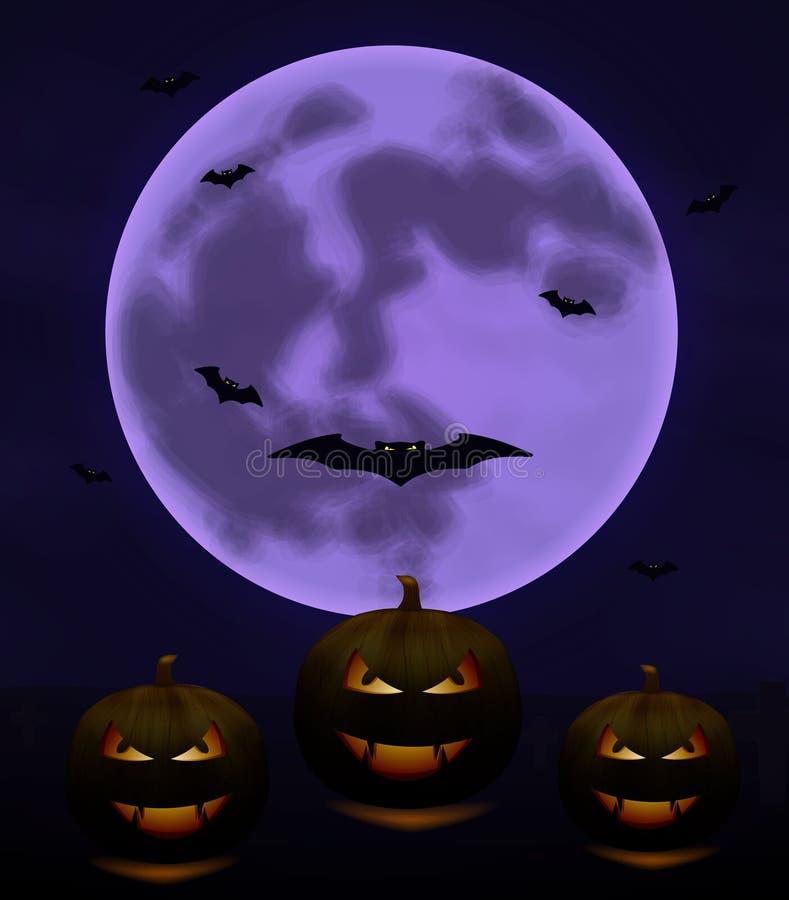 Fondo de Halloween con la Luna Llena y las calabazas en noche oscura aisladas Luna de Halloween, palos asustadizos libre illustration