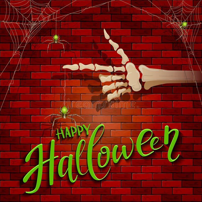 Fondo de Halloween con la mano y la araña esqueléticas stock de ilustración