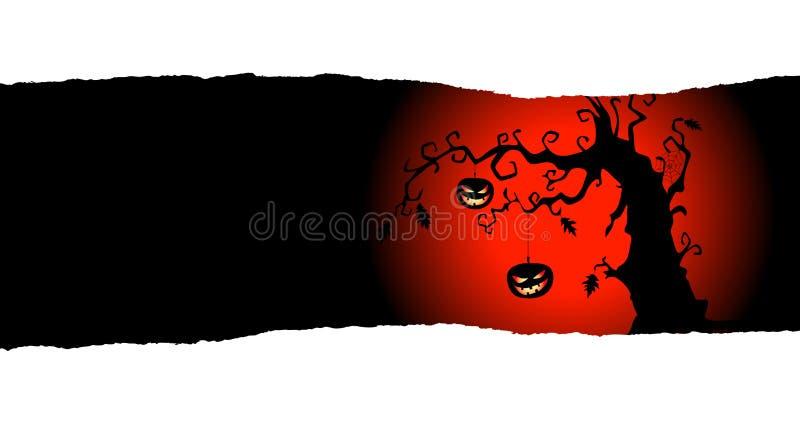 Fondo de Halloween con las calabazas que cuelgan en el árbol stock de ilustración