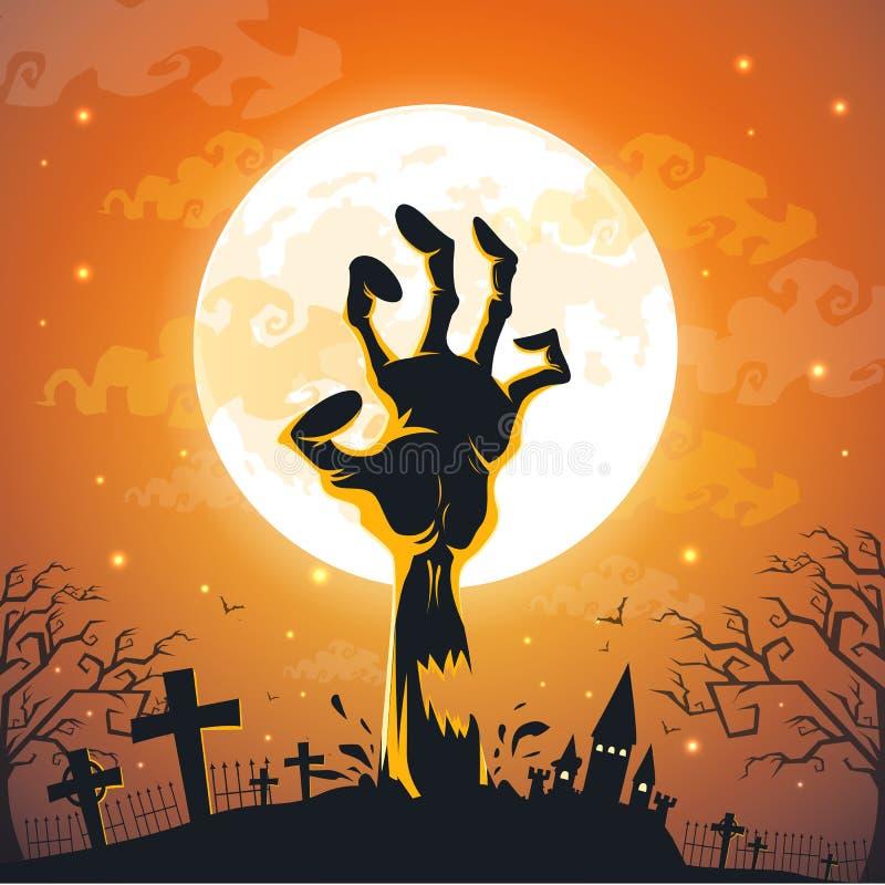 Fondo de Halloween con las manos del zombi en la Luna Llena libre illustration