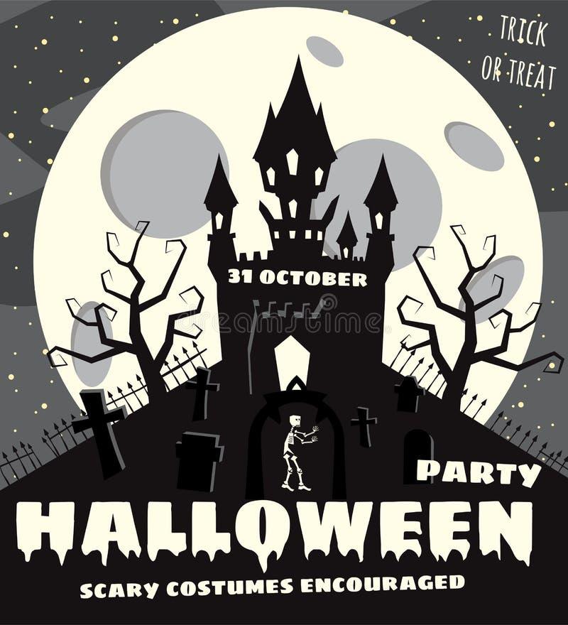 Fondo de Halloween con semetery y sceleton, castillo frecuentado, casa y Luna Llena Cartel, aviador o invitación ilustración del vector
