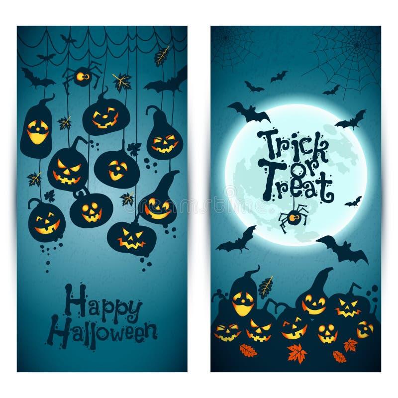 Fondo de Halloween de calabazas alegres con la luna Banderas fijadas stock de ilustración
