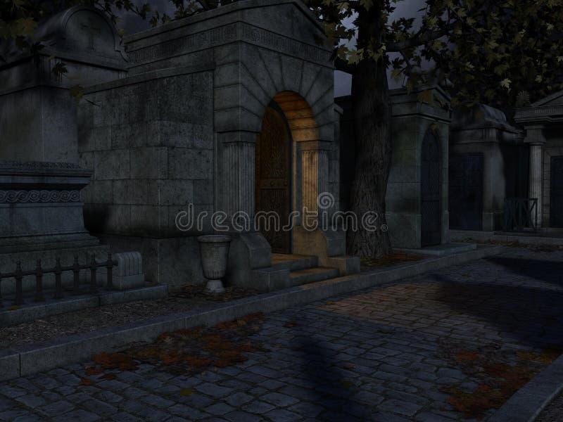 Fondo de Halloween del cementerio ilustración del vector