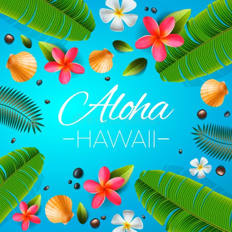 Fondo de Hawaii de la hawaiana Plantas tropicales, hojas y flores Saludo hawaiano de la lengua Ilustraci?n del vector ilustración del vector