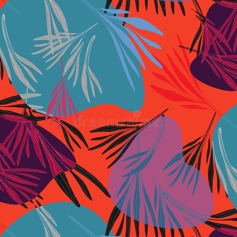 Fondo de hoja de palma colorido tropical Ejemplo floral del verano brillante del vector Impresión del árbol de la naturaleza del  stock de ilustración