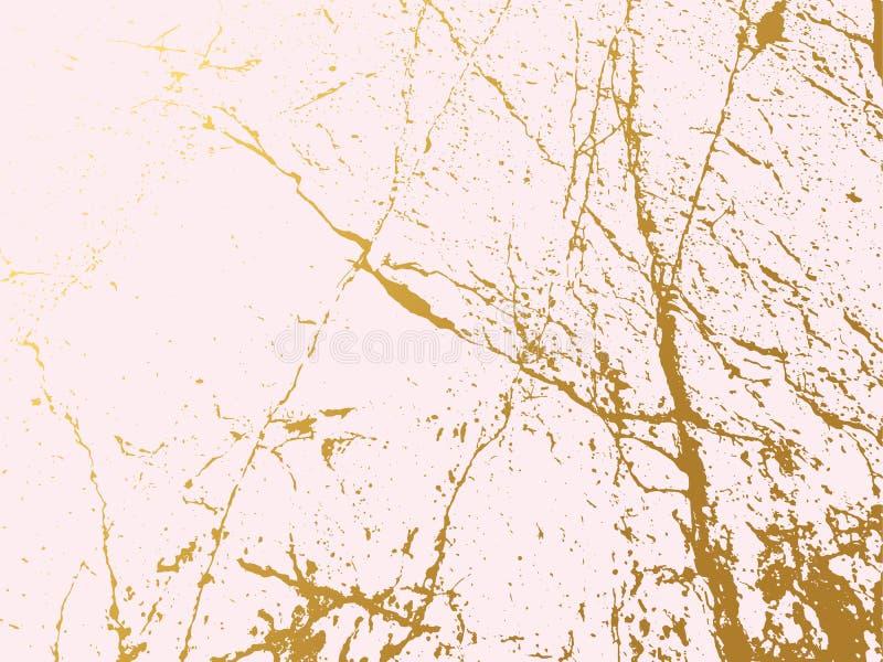Fondo de imitación de mármol de oro de la cubierta Contexto abstracto con la roca vieja, textura de piedra stock de ilustración