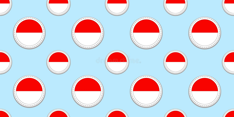 Fondo de Indonesia Modelo inconsútil de la bandera indonesia Escrituras de la etiqueta brillantes en blanco del vector Símbolos d libre illustration