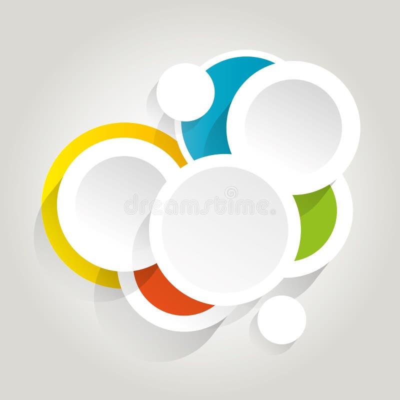 Fondo de Infographics con los círculos coloridos stock de ilustración