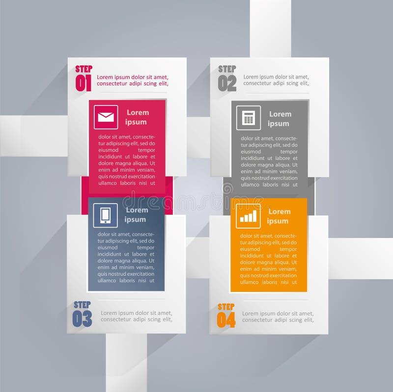 Fondo de Infographics con los elementos rectangulares - cuatro pasos ilustración del vector