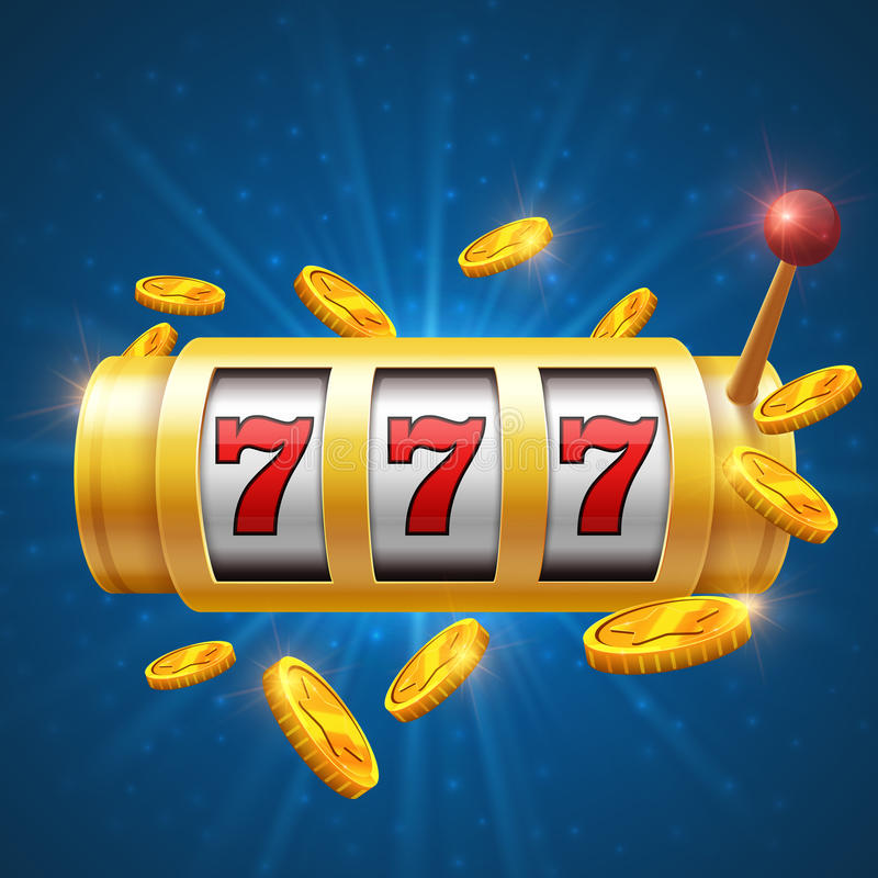Fondo de juego del vector del ganador con la máquina tragaperras Concepto del bote del casino ilustración del vector