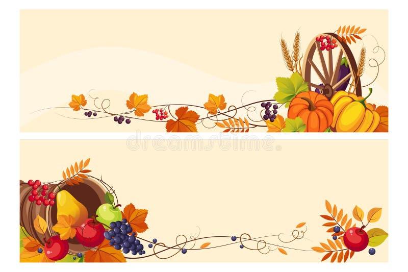 Fondo de la acción de gracias con el espacio para el texto, banderas horizontales con las hojas de la uva del otoño, calabazas, f ilustración del vector