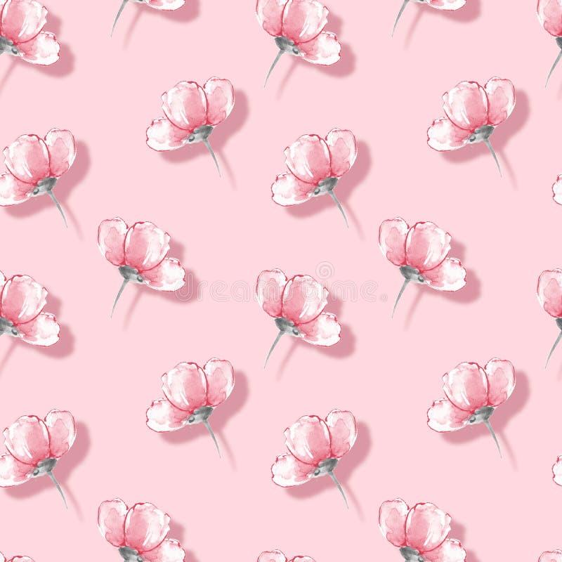 Fondo de la acuarela con las flores 25 del rosa ilustración del vector