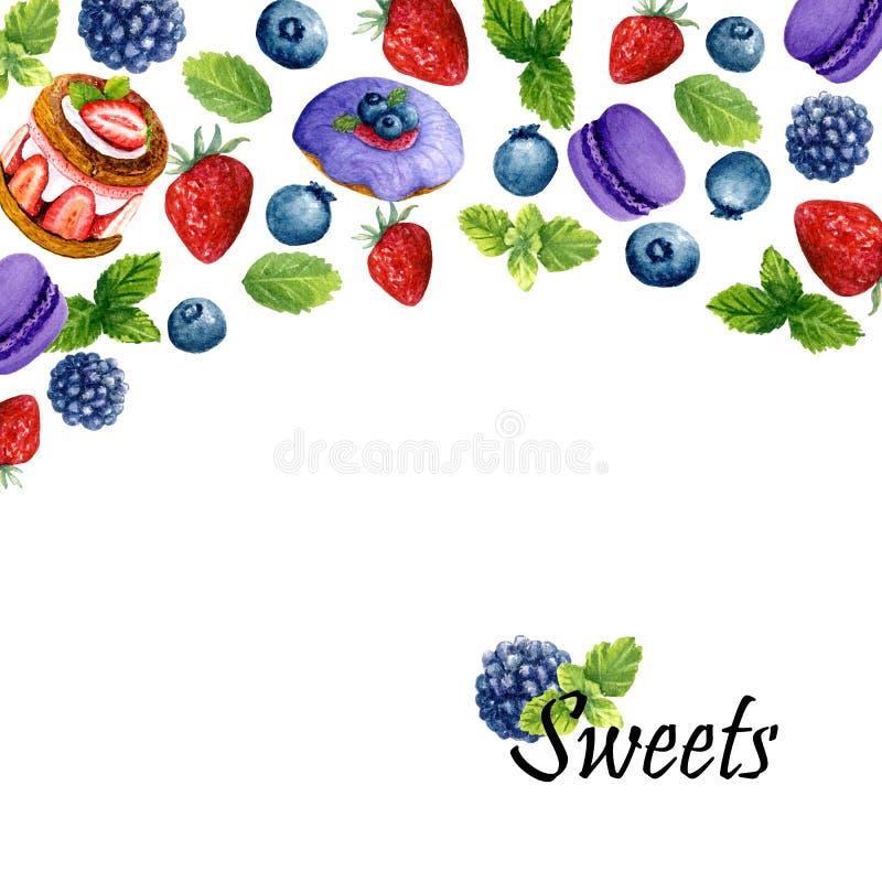 Fondo de la acuarela con los postres, la menta y el lugar dulces para el texto Plantilla con los anillos de espuma, la torta, los stock de ilustración