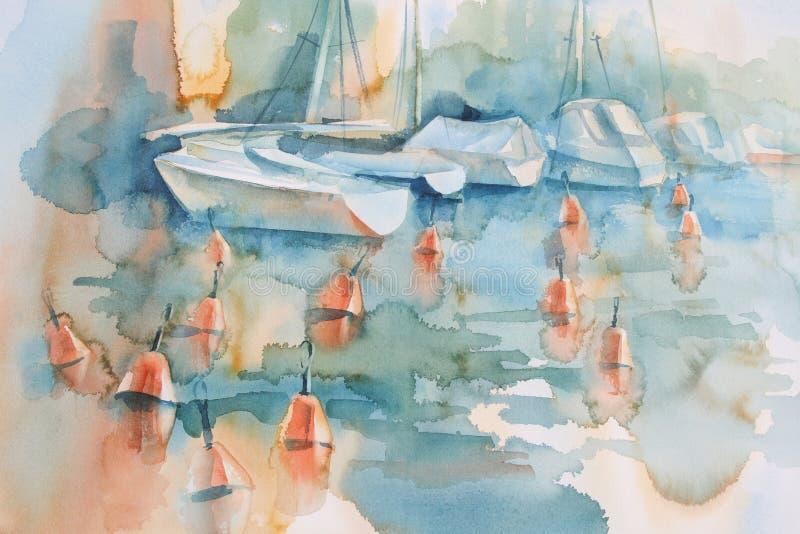 Fondo de la acuarela de los barcos y de las boyas ilustración del vector