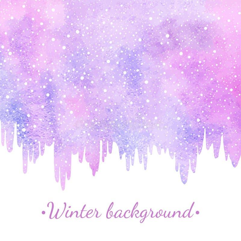 Fondo de la acuarela del invierno, del Año Nuevo con los carámbanos y nieve ilustración del vector