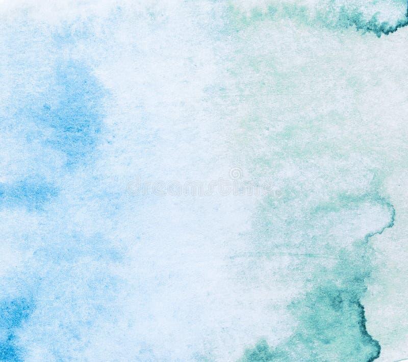 Fondo de la acuarela Manchas de la pintura azulverdes foto de archivo