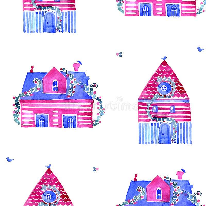 Fondo de la acuarela Modelo inconsútil con las casas coloreadas ilustración del vector